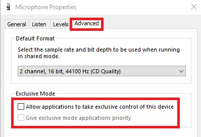 Wyłącz wyłączną kontrolę aplikacji